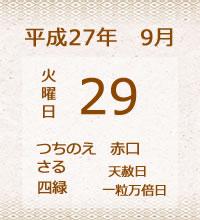 29日の暦です。