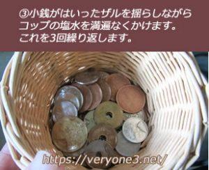 ざるにいれた小銭に塩水をかけていきます。