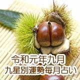 令和元年9月の九星毎月占いです。